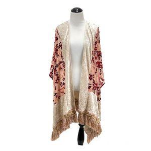 See & Be Seen Tassel Fringe Velvet Kimono Boho Paisley Long Cardigan Poncho M/L